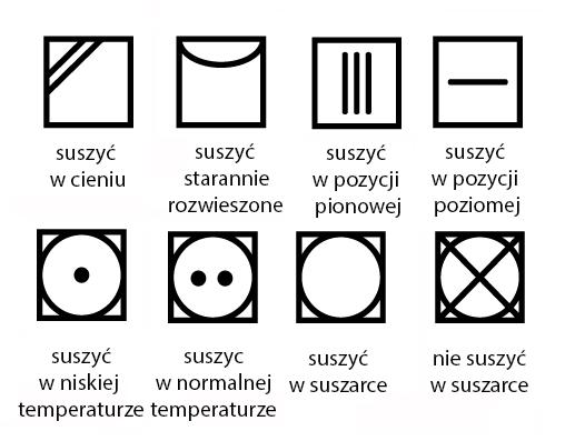 symbole na metkach oznaczenia suszenia